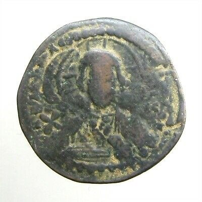 ROMANUS IV / ANONYMOUS BRONZE AE28 FOLLIS____Bust of Christ_____BYZANTINE EMPIRE