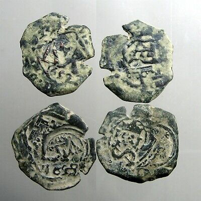 2 COPPER SPANISH PIRATE COBS___Colonial America__ORIGINAL TREASURE COINS__1600's