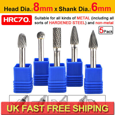 5pcs Tungsten Carbide Rotary Burr Set Drill Bits Die Grinder Carving Engraving