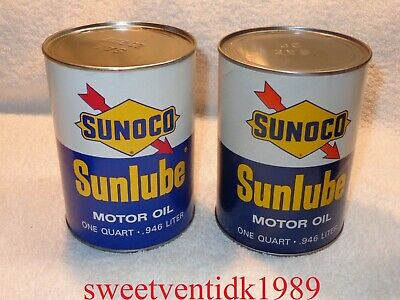 (1)...'Vintage'... SUNOCO Sunlube Motor Oil Can....Oil Can...Full