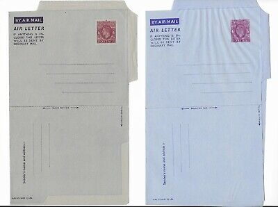 Great Britain 2 Different KGVI 6d Prepaid Airmail Letters (Folded LMM)