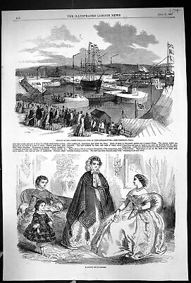 Old 1857 Opening Northumberland Dock Newcastle-On-Tyne Ships Ladies F Victorian