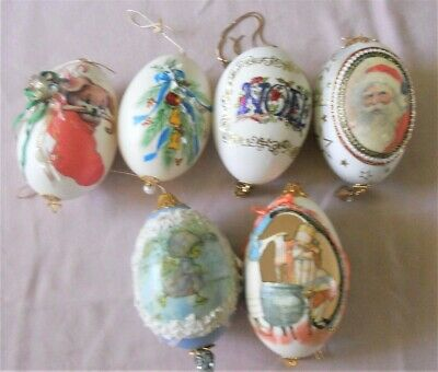 6 Real Goose Egg Ornaments Handmade Cut Decorated Painted