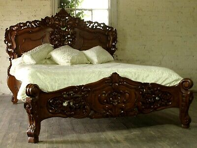 """Mahogany Rococo Antique Carved 4' 6"""" Double Size Louis Chateau French Bed  NEW"""