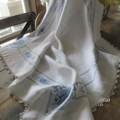 Beautiful Blue Hand Embroidery on Fine Linen Vintage Tablecloth 36x36""