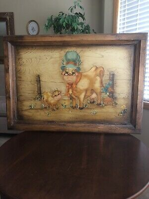 Hand Painted Cow And Calf Wooden Picture
