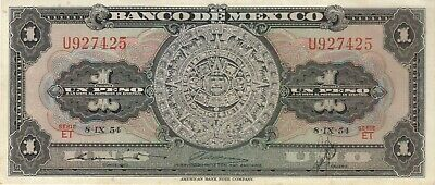 1954 1 One Uno Peso Mexico Mexican Currency Banknote Note Money Bank Bill Cash