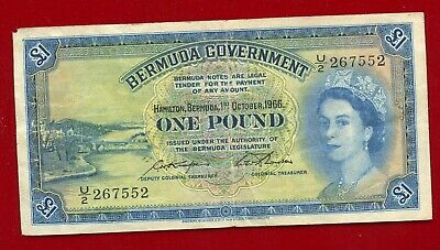 Bermuda Government One Pound Note 1 October 1966 Pick 20D Circulated