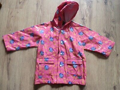 Yeo Minis Pink Butterfly PVC Hooded Rain Coat Age 18 Months - 3 Years VGC
