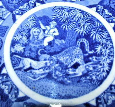 Antique COPELAND SPODE Plate INDIAN SPORTING HUNTING Blue white CHINESE FIGURES