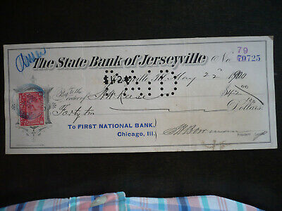 Revenues - USA- Cheque from The State Bank of Jerseyville, Illinois- Scott# R164