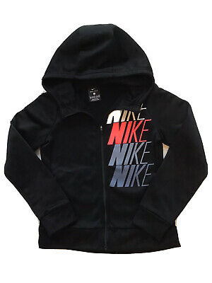 Girls Black Nike Zip-Up Hoodie Age 8-10
