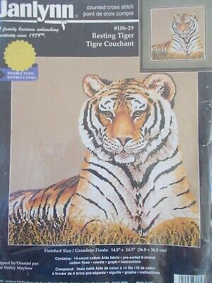 "Cross stitch Kit  "" Resting Tiger "" New by Janlynn"
