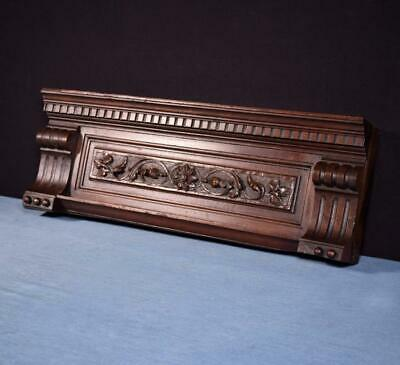 """*20"""" French Antique Pediment/Crest in Carved Walnut Wood Salvage"""