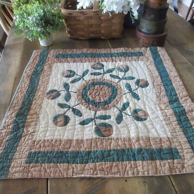 Early One! Antique 19th c Applique QUILT Piece - Craft 23x23