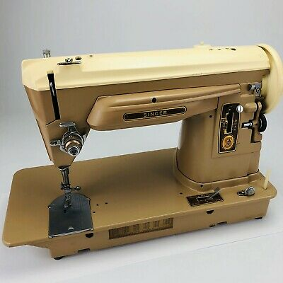 Vtg 1950s Singer Sewing Machine w/ Foot Pedal And Cord *Tested* RARE 2 Tone EXC