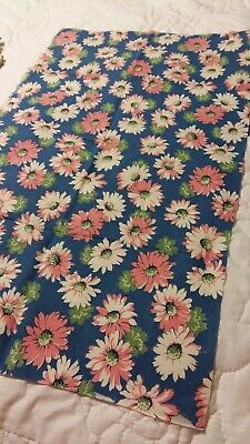 Vintage Blue Feedsack PIECE Pink White Daisies measures 22 by 36 inches