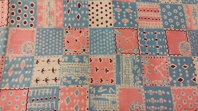 Vintage Blue Feedsack PIECE Pink Blue Squares measures 21 by 37 inches