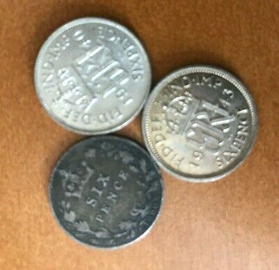 Great Britain 6 PENCE COLLECTION : 3 SILVER COINS  ( stock# 511)