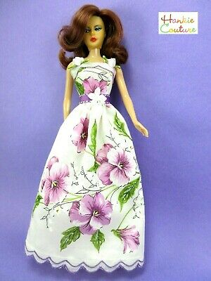 Ooak Floral Doll Dress Fits Barbie Silkstone Vintage Hankie Couture New Clothes!