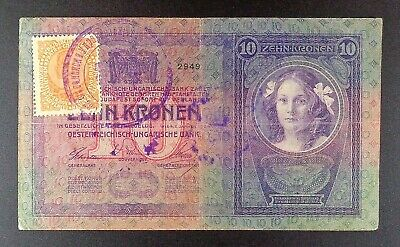 ND (1919) Yugoslavia Second Provisional Issue 10 Kronen Banknote, P-6a.