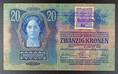 ND (1919) Yugoslavia Second Provisional Issue 20 Kronen Banknote, P-7.