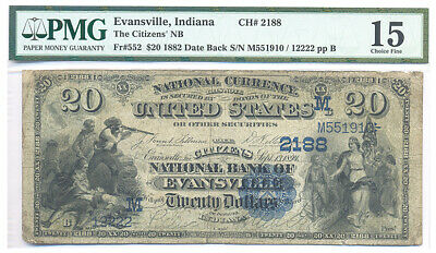1882 Date Back Evansville Indiana Citizens NB Charter #2188 $20 Note PMG Fine 15