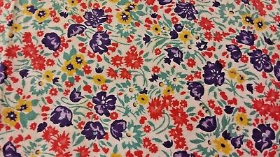 Vintage Feedsack PIECE Flowers Red Purple Yellow Green 20 x 36 inch Great Color