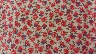 Vintage Feedsack PIECE Litle Pink Blue Flowers 16 x 34.5 inches