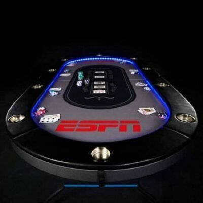 ESPN 10 Player Premium Poker Table Texas Holdem with LED Lights & Padded Top