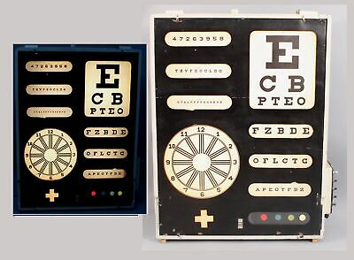 Antique c.1930s Medical Optometrist Eye Doctor Lightbox Exam Test Sign Lamp