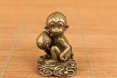 chinese old bronze hand carved monkey peach in hand statue figure