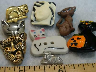 AWESOME LOT VINTAGE & NEW KITTY CAT BUTTONS Ceramic Cameo Metal Plastic