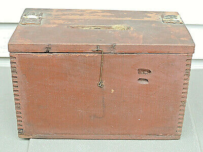 Antique Primitive 19th Century Wooden Ballot Box Dovetailed, Slot Top, Hinged
