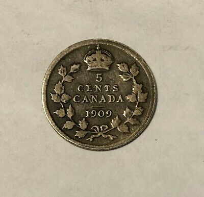 1909 Canada 5 Cents Silver Pointed Holly Leaves
