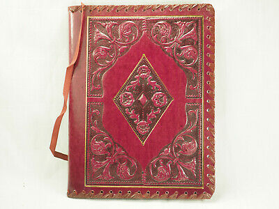 Vintage Italy Kennedy and Kennedy brand Tooled red leather folio cover 11 X 8""