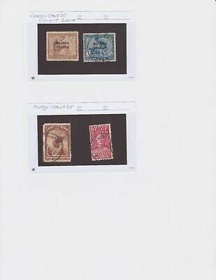 Belgium Congo Stamp Lot - Four (4) Stamps - Used, Good Condition, Neat Cancels