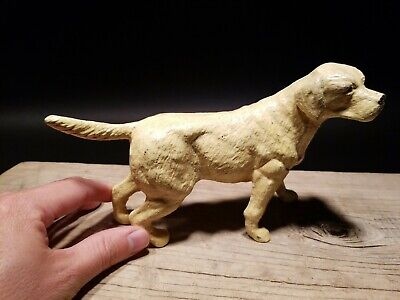 Antique Style Miniature Cast Iron Yellow Lab Dog