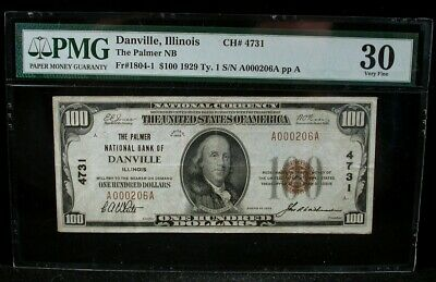 1929 $100 Danville Il Palmer National Bank Note Charter 4731 Pmg 30 Fr1804-1
