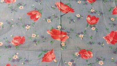 Vintage Cotton Blue Fabric Red Poppies Flowers measures 32 x 35 inches wide