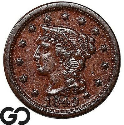 1849 Large Cent, Braided Hair, Choice AU+ Better Date Collector Copper