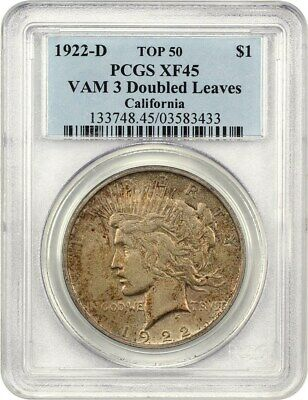 1922-D $1 PCGS XF45 (VAM-3, Doubled Leaves) - ex: California - ex: California