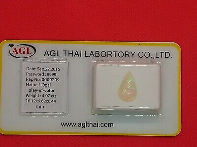 Opale cabochon 4,07 cts, certificat agl, play of color