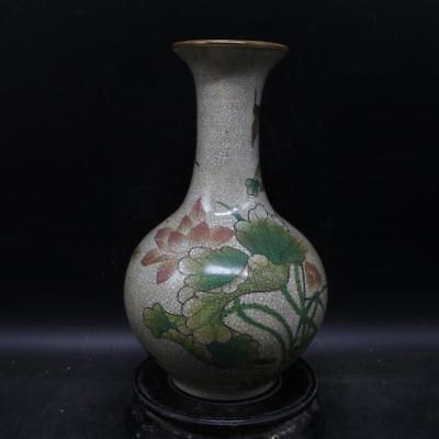 Chinese Old Marked Famille Rose Crackle Glaze Lotus Pattern Porcelain Vase as204