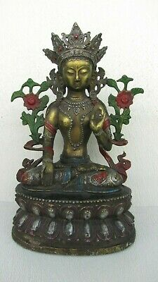 "ANTIQUE MING DYNASTY GILTED BRONZE BUDDHA STATUE :15"" tall"