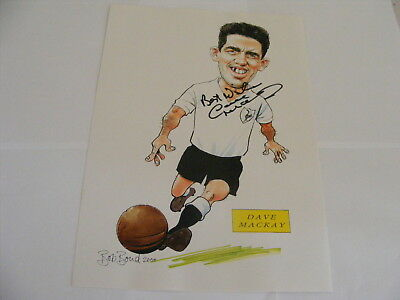 DAVE MACKAY signed Large Bob Bond Caricature Autograph Scotland Spurs Derby