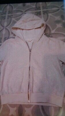 Next Girls White And Grey Striped Hoody Age 9 Years