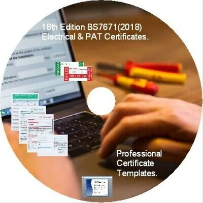 Electrical Certificates BS7671 2018 18th Edition & PAT Testing Forms..Niceic etc