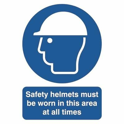 Safety Helmets Must be Worn A4 PVC Sign - SR11230