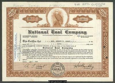National Tool Company stock certificate. Cleveland, Ohio. 1955